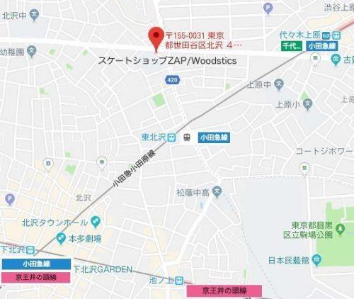 スケートショップZAP最寄り駅MAP