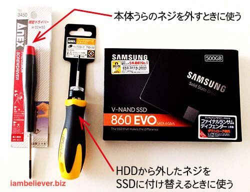 Anexドライバー2種類とSAMSUNG SSD 860EVO